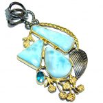 Larimar Blue Topaz Gold Rhodium Plated Sterling Silver Pendant