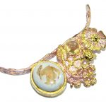 Mexican Fire Opal Gold over Sterling Silver handmade Pendant