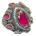 Victorian Style created Ruby & White Topaz Sterling Silver ring; s. 6 1/4