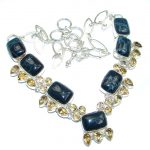 Great Magestic Onyx Citrine Sterling Silver Necklace