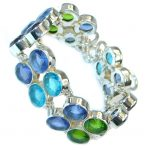 Amazing Multicolor Quartz Sterling Silver handmade Bracelet