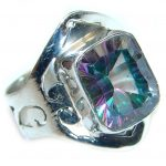 Galaxy Blue Rainbow Topaz Sterling Silver Ring s. 7 3/4