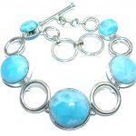 Natural AAA Blue Larimar Sterling Silver handmade Bracelet