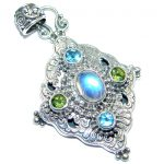 Most Increadible AAA Fire Moonstone Sterling Silver handcrafted Pendant
