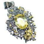 Faceted Citrine Gold Rhodium plated over Sterling Silver Pendant