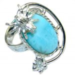 Larimar Pearl Sterling Silver handmade Ring size 6
