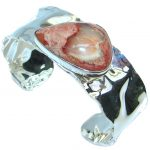 AAA Mexican Opal Handmade hammered Sterling Silver Bracelet / Cuff