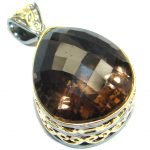 Vintage Style Smoky Topaz Gold plated over Sterling Silver Pendant