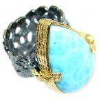 Genuine Larimar Gold Rhodium plated Sterling Silver handmade Ring size adjustable