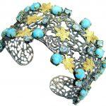Genuine Blue Larimar Gold Rhodium plated over Sterling Silver handmade Bracelet Cuff