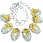 Aura Of Beauty natural Bumble Bee Jasper Sterling Silver handmade Necklace