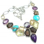 One of the kind Natural MULTIGEM Sterling Silver handmade necklace
