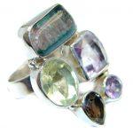 Palette od colors Multigem Sterling Silver Ring size 8