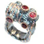 Genuine Garnet Rose Gold Rhodium plated over Sterling Silver handmade Ring 9 3/4