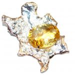 Sun Genuine Citrine Gold plated over Sterling Silver Pendant