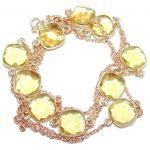 36 inches simulated Citrine Rose Gold plated over Sterling Silver handmade Necklace