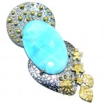 Large Larimar Gold Rhodium plated over Sterling Silver handmade Pendant