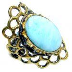Genuine Larimar Gold plated over Sterling Silver handmade Ring size adjustable