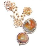 Mexican Fire Opal Oxidized Gold plated over Sterling Silver handmade Pendant