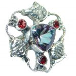 Huge Exotic Rainbow Magic Topaz Sterling Silver Ring s. 7
