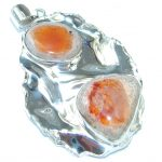 Genuine Mexican Fire Opal hammered Sterling Silver Pendant