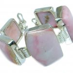 Outstanding Quality Pink Opal Handcrafted Sterling Silver Bracelet
