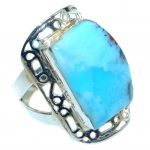 Sublime Genuine Larimar Sterling Silver handmade Ring size 10