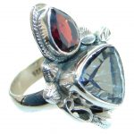 Exotic Rainbow Magic Topaz Sterling Silver Ring s. 8