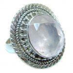Amazing Rose Quartz Sterling Silver ring s. 8 1/4