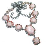 Great Pink Opal Gold Rhodium plated over Sterling Silver handmade Necklace