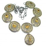Mexican Summer Citrine Gold Rhodium plated over Sterling Silver handmade Necklace