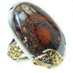 Amazing Australian Koroit Opal Two Tones Sterling Silver Ring size adjustable