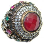Victorian Style Ruby White Topaz Sterling Silver ring; s. 9 3/4