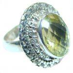 Golden Citrine Sterling Silver handmade Ring s. 6