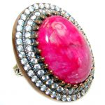 Giant Victorian Style Ruby White Topaz Sterling Silver ring; s. 9 1/4