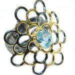 Large Swiss Blue Topaz Rose Gold plated over Sterling Silver Ring size 8 1/4