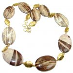 Big Fabulous Australian Brecciated Mookaite Gold plated over Sterling Silver handmade necklace