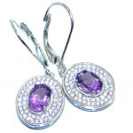 Perfect Natural Amethyst White Topaz Sterling Silver handmade earrings