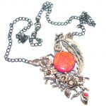 Exclusive created Red Japanese Fire Opal Gold Rhodium plated over Sterling Silver handmade Necklaces