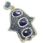 Huge Protective Hamsa Hand Purple Quartz & Spinel Sterling Silver Pendant