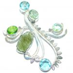 Huge Aura Of Beauty Moldavite Sterling Silver handcrafted Pendant
