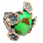 Green Turquoise Rose Gold Rhodium Sterling Silver handmade ring size 7