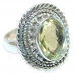 Golden Citrine Sterling Silver handmade Ring s. 8 1/2