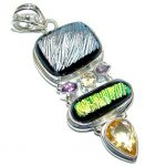 Huge Mexican Dichroic Glass Sterling Silver handmade Pendant
