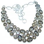Sublime Champagne Smoky Topaz Sterling Silver handmade necklace