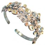 Chunky Genuine Citrine Rose Gold Rhodium plated over Sterling Silver Bracelet / Cuff