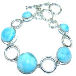 5 Planets Blue Larimar Oxidized Sterling Silver handmade Bracelet Cuff