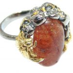 Dense Macabre Genuine Hessonite Garnet Sterling Silver handmade Ring size 7