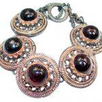Natural Mozambique Garnet Rhodolite Garnet Rose Gold over 925 Sterling Silver handmade Bracelet