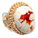 Giant Mexican Fire Opal Gold plated over Sterling Silver handmade Statment Ring size 7